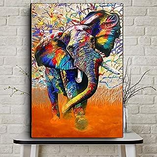 HGlSG Acuarela Abstracta Elefante Africano Animal Salvaje Lienzo Arte Pintura Carteles e Impresiones Cuadros Arte de la Pared Artista de la Pared Decoración del hogar A1 50x70cm