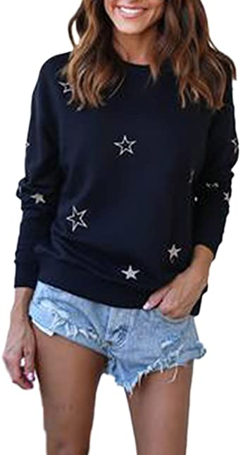 Mujer Sudaderas Camisetas De Manga Larga Estrellas Tops ...