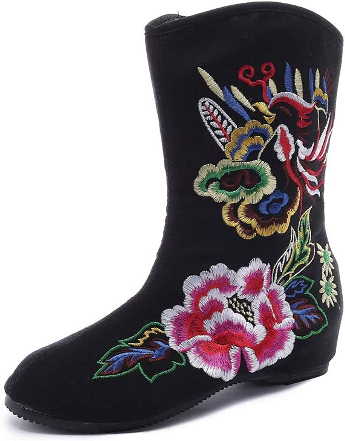 Kyle Walsh Pa Women Embroidered Boots Hidden Wedge Round Toe Canvas Female Classic Unique Autumn Winter Booties