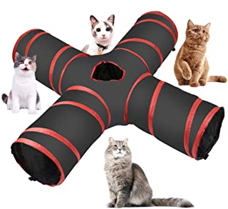 Cossy Home Cat Tunnel Collapsible Pet Play Tunnel Tube Toy with a Bell Toy & a Soft Ball Toy for Cat, Puppy, Kitty, Kitten, Rabbit