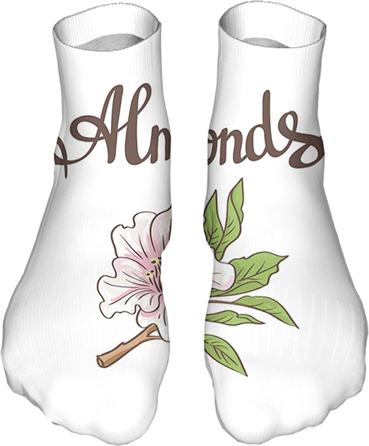 Men's and Women's Fun Socks Printed Cool Novelty Funny Socks,Hand Drawn Almond Blossom on a Branch with Leaves Garden