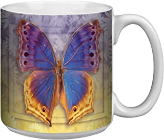 "Tree-Free Greetings XM29505 20 oz X-Large ""Butterfly #3"" Themed Vibrant Art Ceramic Coffee Mug"