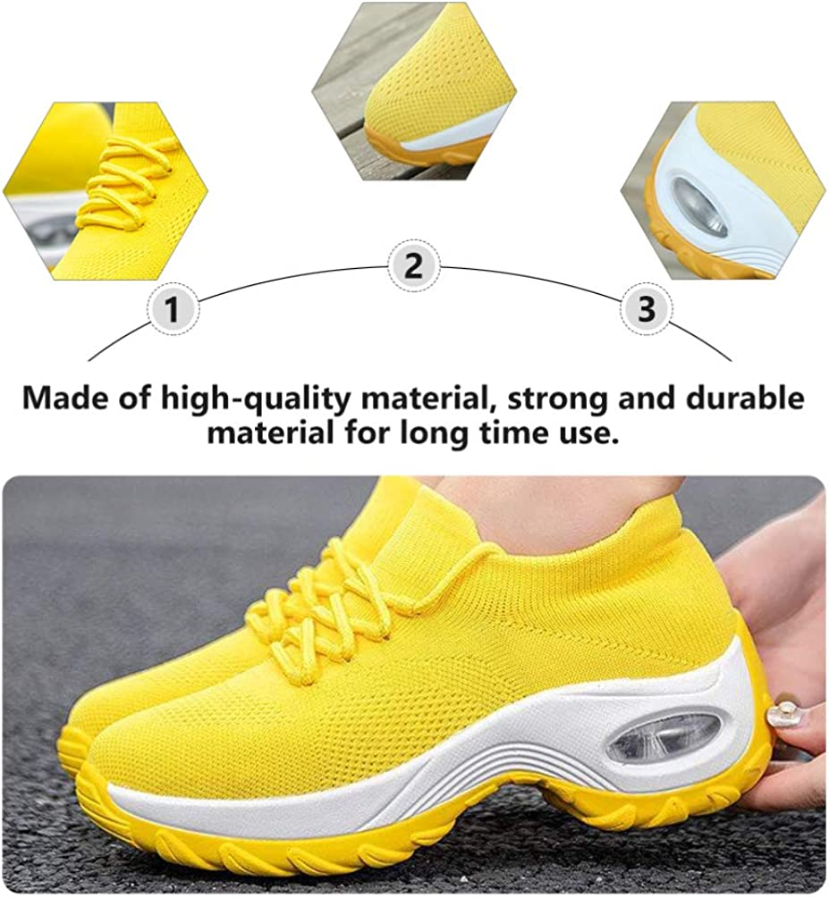 Holibanna Women Sports Sneakers Shoes Air Cushion Breathable Mesh Shoes Women Outdoor Shoes Walking Shoes 1 Pair Yellow