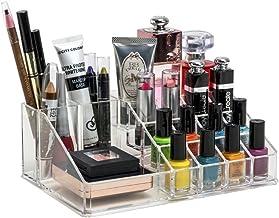 Dewberries® 16 Compartment Cosmetic Makeup Jewellery Lipstick Storage Organiser Box, Transparent