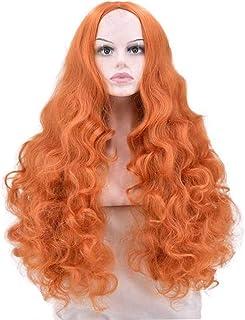 かつら - レディースロングビッグウェーブ高温シルクウィッグファッション劉海パーティーの役割ハロウィン60cmオレンジを再生する (色 : Orange, サイズ さいず : 60 cm 60 cm)