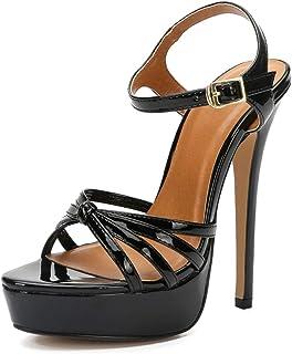 LIURUIJIA LXA44 - Sandalias de tacón alto para mujer, unisex, con tiras cruzadas, plataforma de tacón stiletto, para boda, fiesta, club, vestido LXA44