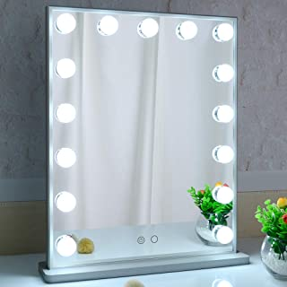 BEAUTME Hollywood Vanity Mirror, Lighted Makeup Mirror with 15pcs Led Lights,Tabletop or Wall Mounted Dressing Illuminated...