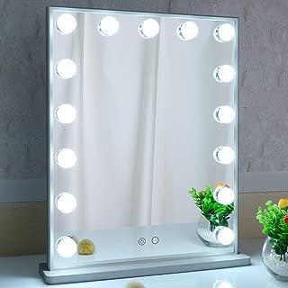 BEAUTME 女優ミラー 化粧鏡 2色ライトモード 明るさ調整 LED電球15個付き ハリウッドミラー 台座付き 卓上/壁掛け両用(シルバー)