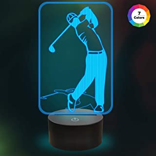 Golf Night Light 3D Lamp 7 Colors Changing Touch Switch LED Illusion Night Light with USB Powered for Club/Home/Office Decorations/Gifts