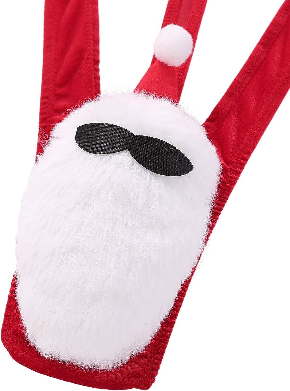 inlzdz Mens Velvet Christmas Costume One-Piece Sling Shot Thong Mankini Santa Lingerie Underwear