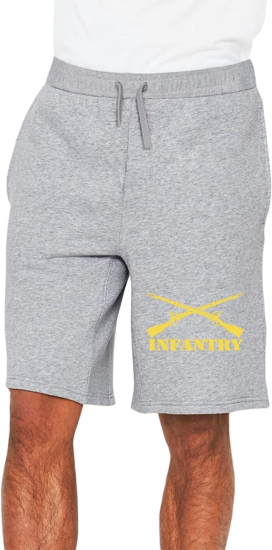 Army Infantry Branch Insignia Military Man Short Pants Slacks Soft Cotton Elastic Sport Pants
