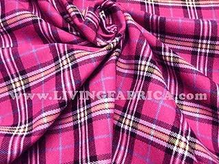 Hot Pink Plaid Scotch Tartan Cotton Fabric 45