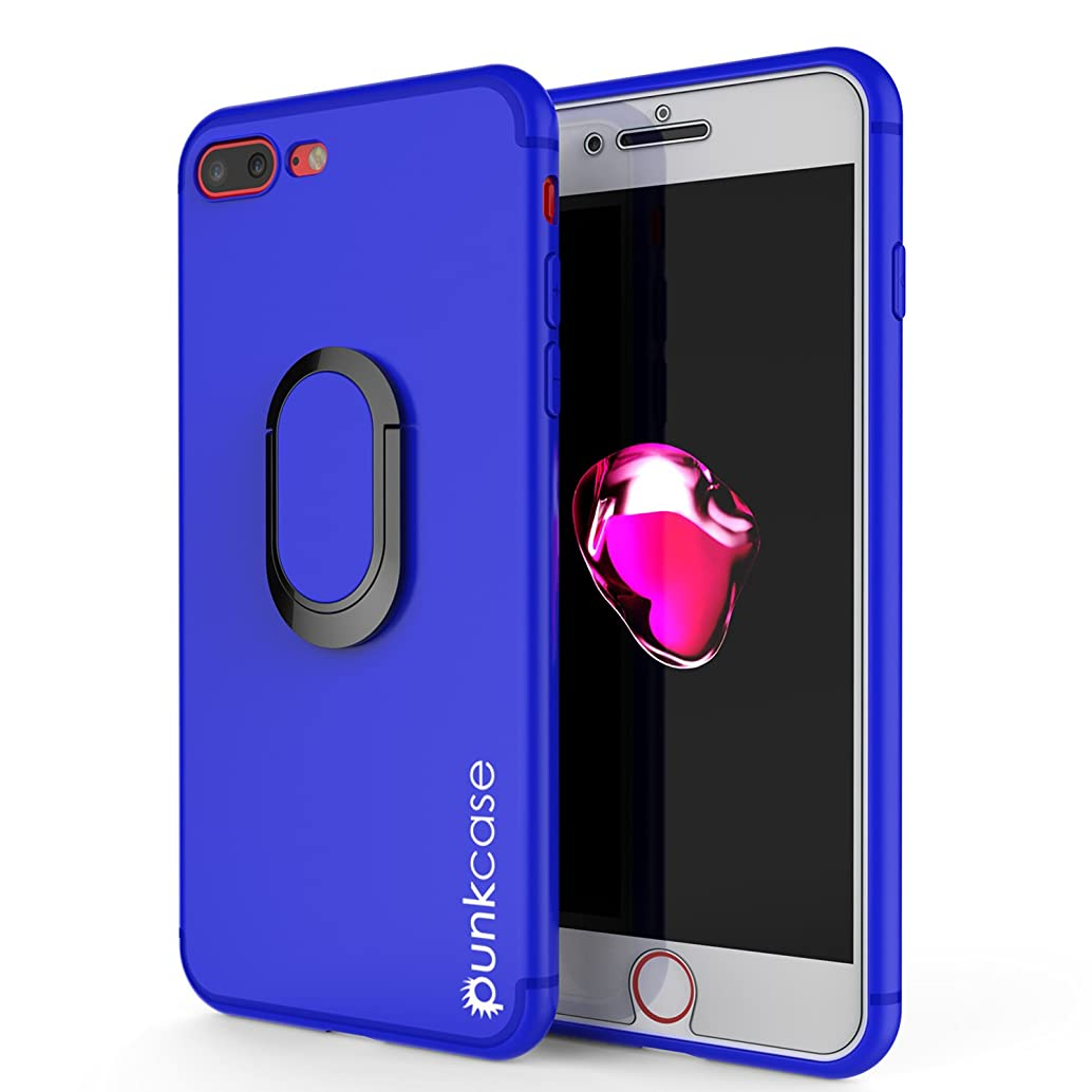iPhone 8 PLUS Case, Punkcase Magnetix Protective TPU Cover W/Kickstand, Ring Grip Holder & Metal Plate for Magnetic Car Phone Mount PLUS Tempered Glass Screen Protector for Apple iPhone 7+/8+ [Blue]