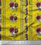Soimoi Gelb Schwere Canvas Stoff Blätter & Blumen,