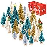 Whaline 46Pcs Mini Árboles de Navidad,Árboles de Sisal Esmerilado Artificial,Árboles de...