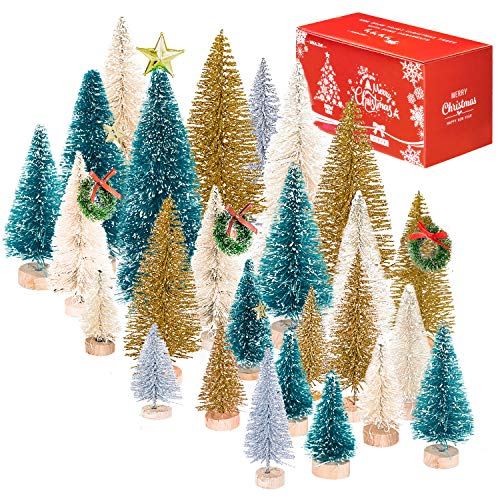 Whaline 36 Set Mini Christmas Trees Artificial Frosted Sisal Trees, Bottle Brush Trees with Wood Base DIY Crafts Mini Pine Tree for Xmas Holiday Home Tabletop Decor Winter Ornaments