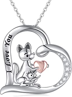 JZMSJF S925 Sterling Silver Mom Baby Kangaroo Necklace I Love You Mom CZ Heart Animal Pendant Jewelry Gifts for Women,Chain 18''