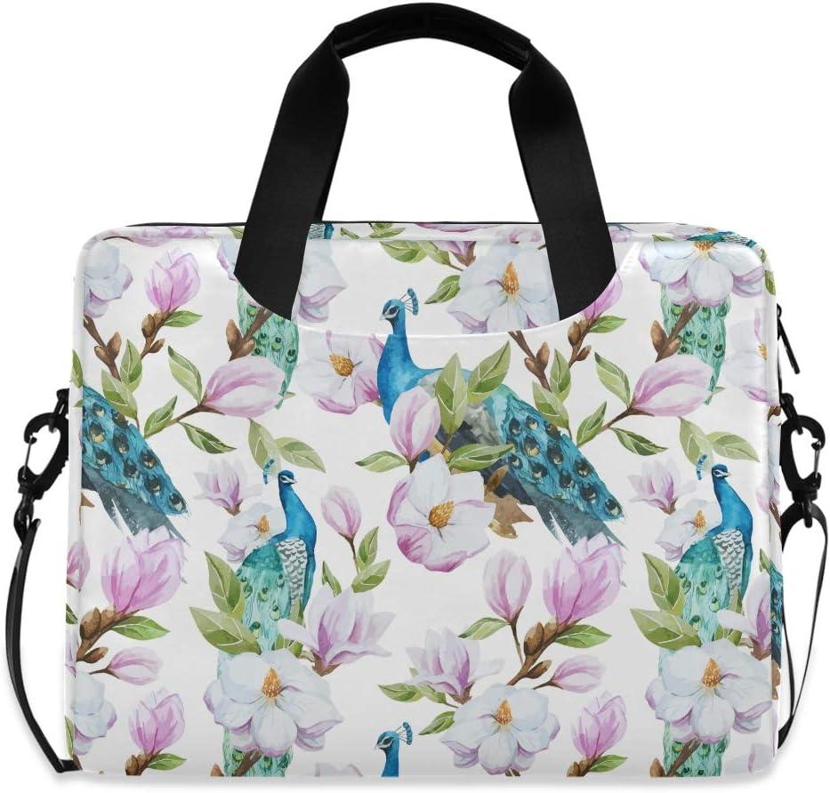 ALAZA Pink Magnolia Flower Over item Sacramento Mall handling ☆ Peacock Sleeve Portab Laptop Case Bag