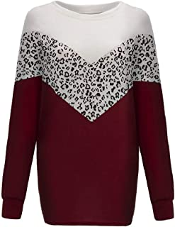 Loyomobak Womens Top Long-Sleeve Fashion Loose Color Block Leopard Print T-Shirts Blouse