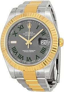 Rolex Datejust II 41mm Grey Roman Dial Gold Bazel Men's Watch 116333
