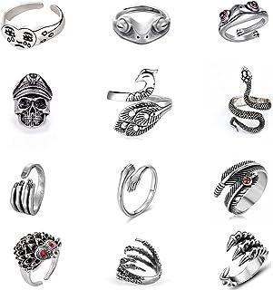 ASHMITA 12 PCS Silver Frog Ring Set Cute Animal Adjustable Rings Vintage Pairing Ring Snake, Hug, Lucky Face Eagle Claw Ri...