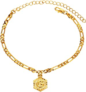 Initial Charm 5mm Wide Figaro Chain 18K Gold Plated Bracelet for Women Men Teen Girls Boys 26 Letters Alphabets Friendship Bracelets with Extension