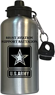 601st Aviation Support Battalion - US Army Water Bottle Silver, 1027