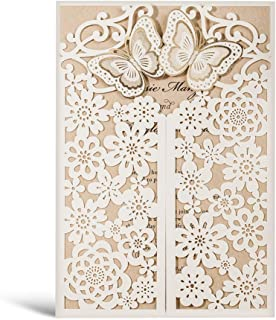 50 WISHMADE White 3D Laser Cut Wedding Invitations with Envelopes and RSVP Card, Butterfly Floral Gate Design Blank Invites for Dinner Party Bridal Shower Birthday CW7085W