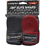 Meister Elite 180' Premium Adult Hand Wraps for MMA & Boxing - 2 Pair Pack w/Mesh Bag - Black/Blood Red