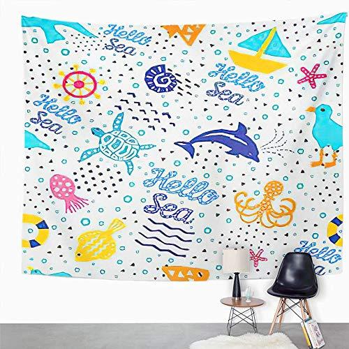 Y·JIANG Tapiz de dibujos animados, Seaworld of Cutout Marine Memphis Funny Albatross Animal Home Dormitorio decorativo grandes tapices para colgar en la sala de estar, dormitorio, 60 x 50 pulgadas