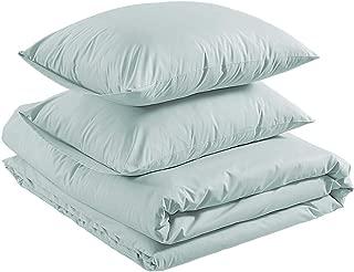 AmazonBasics Brushed Percale Cotton Duvet Comforter Cover Set, Full / Queen, Powder Blue