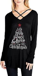 Christmas Tops, T-Shirt Jumper Women Xmas Printed Letter Sweatshirt V-Neck Loose Blouse Tunic Shirt