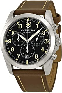 Victorinox Infantry Chronograph Black Dial Leather Strap Mens Watch 241567XG (Renewed)