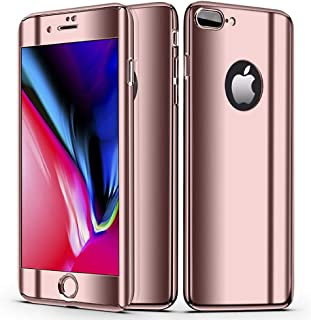 ANERNAI Compatible Apple iPhone 7 Plus iPhone 8 Plus Case 360 Degree Protection Mirror 2 in 1 Slim Plating Cover Case(Rose Gold)