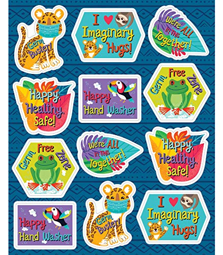 Carson Dellosa Education One World Germ Busters Social Distancing Stickers for Kids, 72 Stickers, 1-inch x 1-inch (168303)