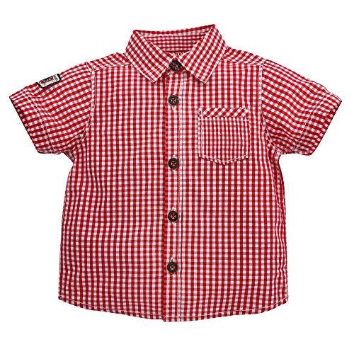 Alpenglück Baby-Trachtenhemd aus Baumwolle Gr. 104 I Schönes Jungen-Hemd in Rot-Weiß I Hemd Jungen, kariert I Kinderhemd aus Webware I Wunderschöne & Bequeme Kinderbekleidung