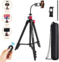 TAIROAD 65-Inch Phone Tripod for iPhone Android Cell Phone Tripod Mount with Bluetooth Remote, Cellphone Phone Tablet Stand Holder, Adjustable Gooseneck, 360 Panorama Ball Head and Carrying Bag