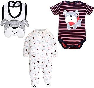 ZEVONDA Baby Boys Girls Clothes Set 3Pcs - Short Sleeve Bodysuit & Sleepsuit & Bibs Animals Pajamas Set Newborn Outfits for 0-18 Months
