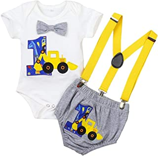 Toddler Baby Boy Clothes Newborn One-year-old Birthday Short Sleeve Romper + Bow Tie + Suspender for kids Oufit Set for Fa...