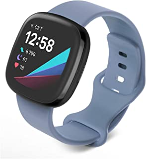 Jvchengxi Compatible con Fitbit Versa 3 Correa/Fitbit Sense Correa, Bandas de Repuesto de Silicona Suave Ajustable Deporti...