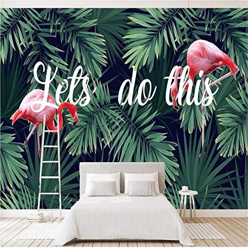 JIYOTTF Tela no tejida autoadhesiva del mural de la pared de la sala 3DMinimalista Verde Plantas Animales Flamencos(W 300 x H 210cm) Papel tapiz fotográfico 3D Mural Decoración de pared Cartel Arte M