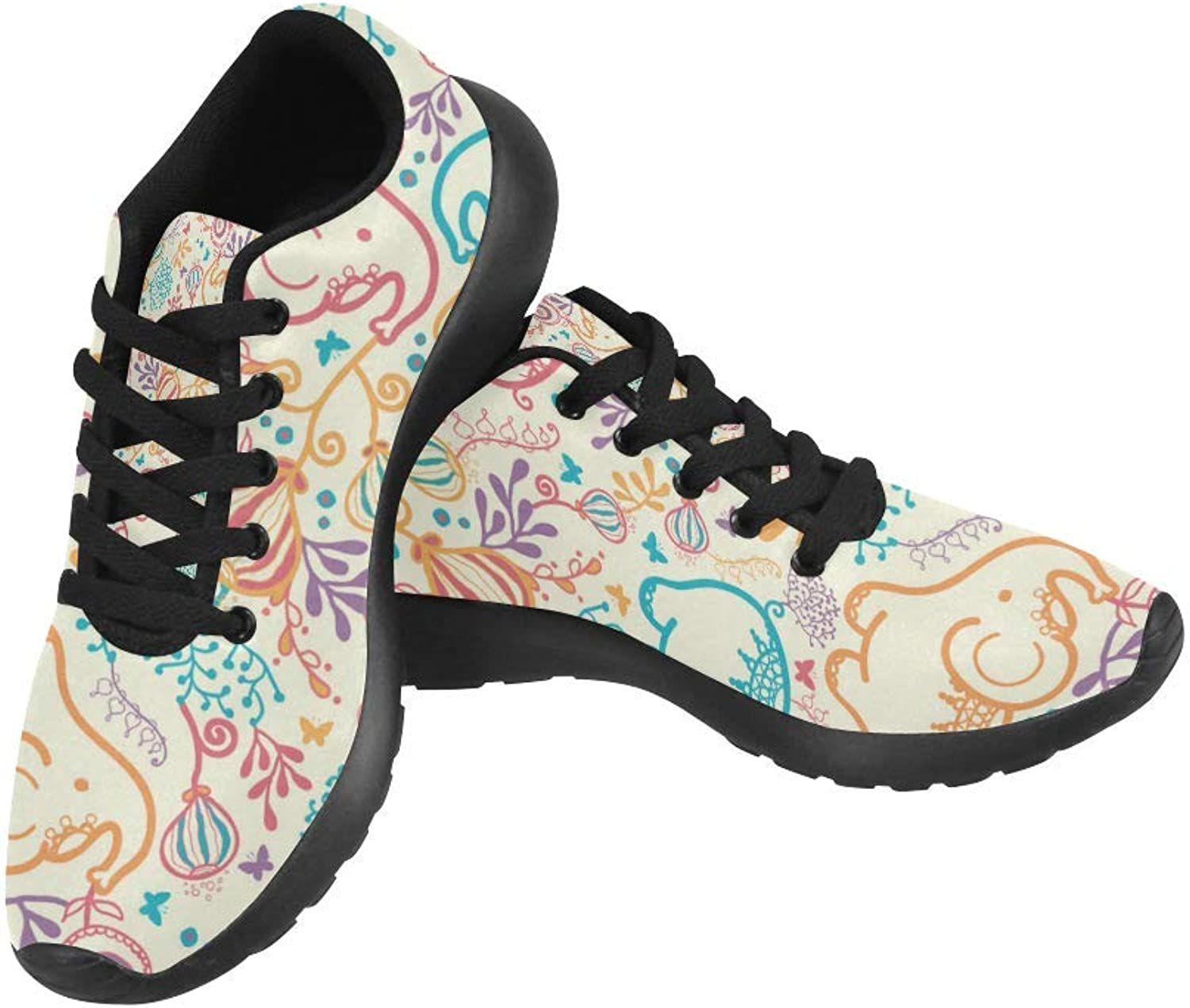 InterestPrint Elephants with Flowers Print on Women's Running shoes Casual Lightweight Athletic Sneakers US Size 6-15
