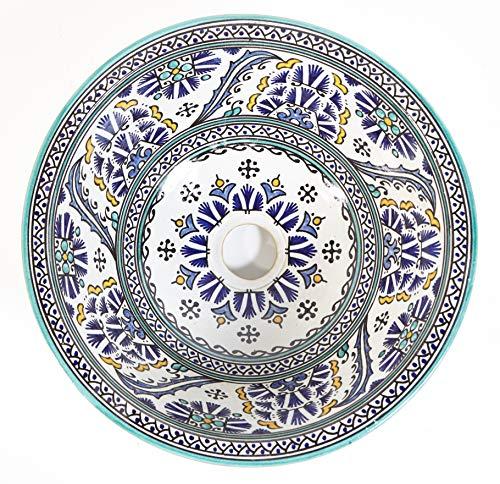 Casa Moro Mediterranes Keramik-Waschbecken Fes88 Ø 35 cm rund bunt handbemalt | Kunsthandwerk | Marokkanisches Handwaschbecken für Küche Badezimmer Gäste-Bad | Einfach schöner Wohnen | WB35288
