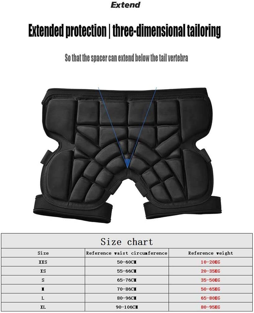 ZXW 3D Ski Hip Protector Butt Pad Roller Skating Etc. Sports Fall Protection Is Safer Suitable for Skating Skiing Skin-friendly And Breathable