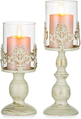 Nuptio Pcs of 2 Vintage Metal Pillar Candle Holder Antique Hurricane Candlestick with Glass Screen Cover Accent Display for H