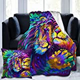 Flannel Fleece Throw Blanket Lion Embraces Lioness with 45X45 (18 Inch) Microfiber Durable Couch Blankets Home Decor Perfect for Bed and Sofa Blankets for All Season(50'x 40')