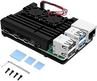 GeeekPi Raspberry Pi 4B Armor Case, Raspberry Pi Aluminum Alloy Case with Cooling Fan Dual Fan, Raspberry Pi Fan Heatsink ...