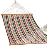 Lazy Daze Hammocks 55inch Deluxe Sunbrella Fabric Double Hammock with Wood Spreader Bar