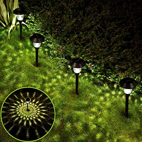 Solar Lights Pathway Outdoor Garden Path 4 Pack Glass Stainless Steel Spike Path Light ,Waterproof Bright White Wireless Sun Powered Landscape Lighting for Yard Patio Walkway