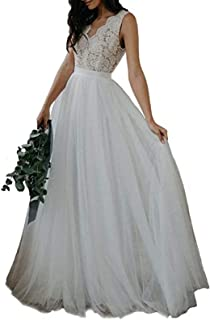 Sponsored Ad - Rimoo Women`s Lace Beach Wedding Dresses for Bride A-Line Backless Tulle Bridal Wedding Gowns 2021
